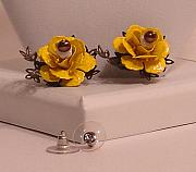 Post Jewelry - -SOLD- Sunny Yellow Roses Post Earrings Studs by Robin Copper