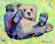 Contemporary Animal  Acrylic Paintings -  Spring Frolic by Pat Saunders-White