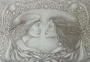 Drawing Of Lovers Metal Prints -  Spring Lovers With Lilies Of The Valley Metal Print by Rita Fetisov