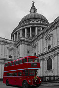 Pauls Framed Prints -  St Pauls Cathedral Red Bus Framed Print by David French