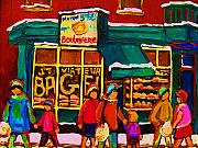 Store Fronts Painting Metal Prints -  St. Viateur Bagel Family Bakery Metal Print by Carole Spandau
