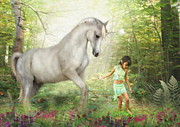 Pony Digital Art -  Stella and the Unicorn by Trudi Simmonds