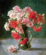 Glassware Posters -  Still life of Carnations   Poster by Emile Vernon