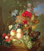 Peaches Art -  Still Life with Auriculus  by Gerrit Van Leeuwen
