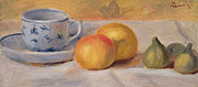 Table Cloth Painting Metal Prints -  Still Life with Blue Cup Nature Morte a la Tasse Bleue Metal Print by Pierre Auguste Renoir