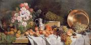 Still-life With Peaches Posters -  Still life with flowers and fruit on a table Poster by Alfred Petit