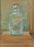 Glass Bottle Drawings -  Study in Blue Glass by Jeffrey Summers