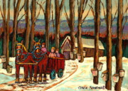 Hockey On Frozen Pond Paintings -  Sugar Shack by Carole Spandau