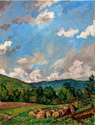 Abstract Realist Landscape Art -  Summer Farm Berkshires by Thor Wickstrom