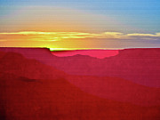 River View Mixed Media Metal Prints -   Sunset at Grand Canyon Desert View Metal Print by Nadine and Bob Johnston