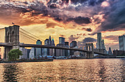 Ny Posters -  Sunset Over the Brooklyn Bridge Poster by Val Black Russian Tourchin