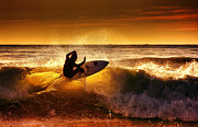 Hawaii Digital Art Originals -  Sunset surf by Marco Petracci