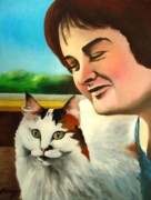 Susan Framed Prints -  Susan Boyle with her cat Pebbles Framed Print by Dan Haraga