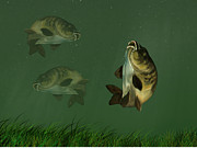 Angling Digital Art -  Synchronized Swimming Carps by Cynthia Adams