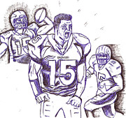 Tebow Drawings Posters -  Tebow Time Lets go  Poster by HPrince De Artist