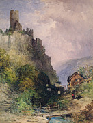Sitting On Hill Metal Prints -  The Castle of Katz on the Rhine Metal Print by William Callow