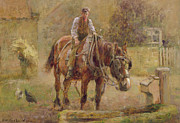 The Horse Metal Prints -  The Drinking Trough  Metal Print by Frederick William Jackson