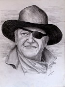 True Grit Drawings Metal Prints -  The Duke Metal Print by Jack Skinner