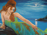 Fine Art  Of Women Paintings -  The Mermaid by Lori Gruwell
