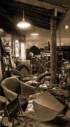 Sepia Tone Digital Art -  The Motorcycle Shop by Mike McGlothlen