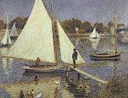 Boats. Water Paintings -  The Seine at Argenteuil by Pierre Auguste Renoir
