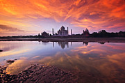 Sunset Sky Posters - .: The Taj :. Poster by Photograph By Ashique