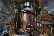 Horror Illustration Prints -  Time for a Cut- Barber Chair - Eastern State Penitentiary Print by Lee Dos Santos