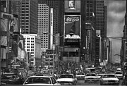 New York Drawings Metal Prints -  Times Square Metal Print by Jerry Winick