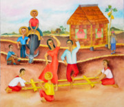 Bamboo House Painting Framed Prints -  Tinikling Framed Print by Miriam Besa
