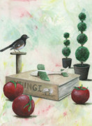 Tomatoes Mixed Media Prints -   TO   Words Print by Sandy Clift