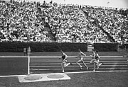 Four People Posters - Track Athletes Running On Track, (b&w), Elevated View Poster by George Marks