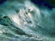 Surf Art Posters -  Tsunami - Raging Sea Poster by Russ Harris