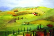 Italian Landscapes Paintings -  Tuscany by Maryann Schigur