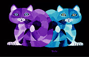 Felines Painting Prints -  Two Cats Print by Nick Gustafson