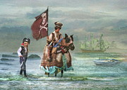 Pirate Ship Prints -  Two Pirates and Their Pony Print by Trudi Simmonds