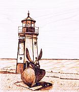 Lighthouse Pyrography Posters -  Vermilion Lighthouse Poster by Danette Smith