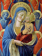 Religious Metal Prints -  Virgin and Child with Angels Metal Print by Benozzo di Lese di Sandro Gozzoli