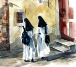 Nuns Paintings -  Walk of Faith by Art Scholz