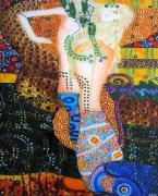 Black Glass Art Originals -  Water Serpents reply by Gustav Klimt by Gabriela Stavar