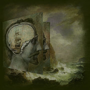 Storm Digital Art Metal Prints -  When a Mans Thoughts Turn Toward the Sea Metal Print by Jeff Burgess