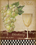 Painted Glass Posters -  White wine collage Poster by Grace Pullen