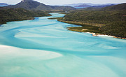 Whitsunday Photos - Whitehaven Beach And Hill Inlet In Whitsunday Islands National Park, Queensland, Australia by Peter Walton Photography