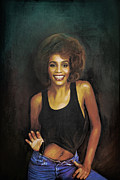 Vocalist Digital Art Originals -  Whitney Elizabeth Houston by Andrzej  Szczerski