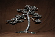 Bonsai Sculpture Posters -  Why not aluminum tree 1 Poster by Aleksandr Rakhlin