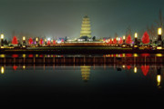 Shaanxi Prints -  Wild Goose Pagoda Illuminated at Night Print by George Oze