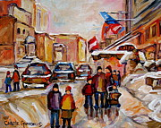 Montreal Neighborhoods Paintings -  Winter Walk In Montreal by Carole Spandau