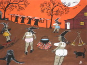 Wash Painting Originals -  Witches Wash Day by Jeffrey Koss