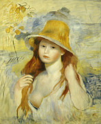 Blue Shirt Framed Prints -  Young Girl with a Straw Hat Framed Print by Pierre Auguste Renoir