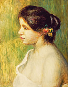 Colorful Flowers Posters -  Young Woman with Flowers at her Ear Poster by Pierre Auguste Renoir
