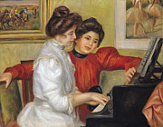 Sisters Paintings -  Yvonne and Christine Lerolle at the piano by Pierre Auguste Renoir